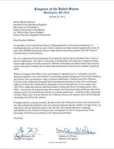 Extracto de la carta de Los Congresistas