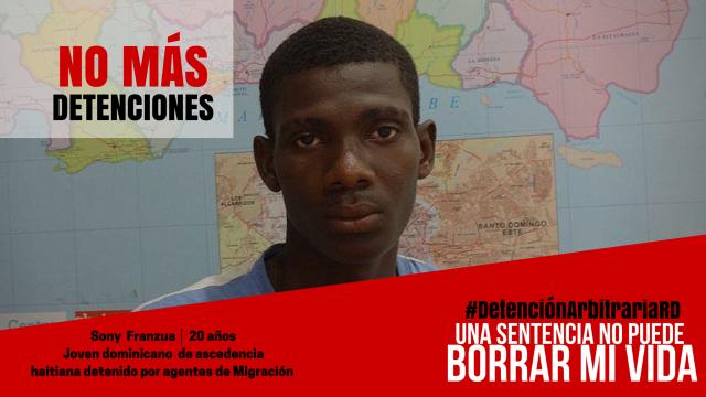 Sony Franzua, menor de edad, dominicano, detenido en operativo  migratorio.